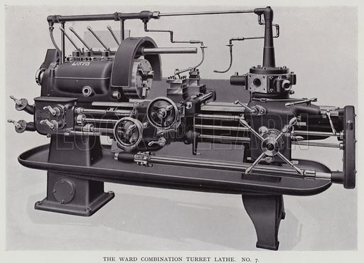 The Ward combination turret lathe. Illustration for Engineering Workshop Practice by Arthur W Judge (new and revised edn, Caxton, c 1936).