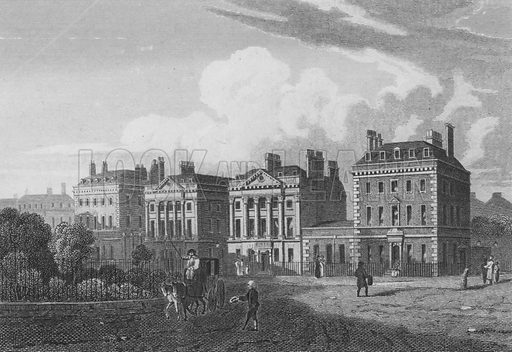 North Side of Cavendish Square, London. Illustration for The Beauties of England and Wales by Joseph Nightingale (J Harris et al, 1815).