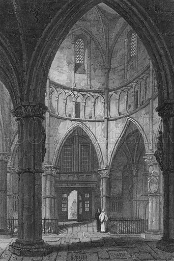 Interior of the Temple Church. Illustration for The Beauties of England and Wales by Joseph Nightingale (J Harris et al, 1815).