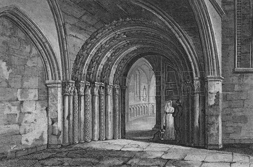Door way to the Temple Church, London. Illustration for The Beauties of England and Wales by Joseph Nightingale (J Harris et al, 1815).