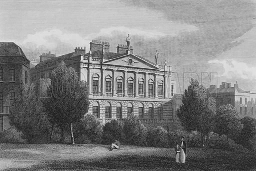Earl Spencer's House, Green Park. Illustration for The Beauties of England and Wales by Joseph Nightingale (J Harris et al, 1815).