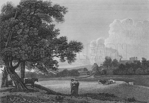 The Queen's Palace, from the Green Park with the Guard House at Story's Gate etc, Middlesex. Illustration for The Beauties of England and Wales by Joseph Nightingale (J Harris et al, 1815).
