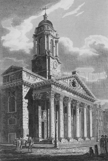 St George's Church, Hanover Square, Westminster. Illustration for The Beauties of England and Wales by Joseph Nightingale (J Harris et al, 1815).