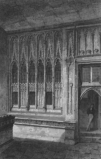 The lower Lobby, House of Commons. Illustration for The Beauties of England and Wales by Joseph Nightingale (J Harris et al, 1815).