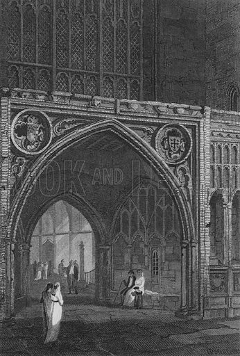 Westminster Hall, East Entrance. Illustration for The Beauties of England and Wales by Joseph Nightingale (J Harris et al, 1815).