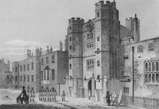 St James's Palace, North west view, Westminster. Illustration for The Beauties of England and Wales by Joseph Nightingale (J Harris et al, 1815).