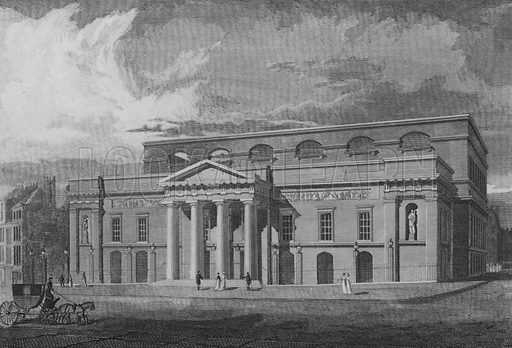Covent Garden Theatre, erected in the Year 1809, Westminster. Illustration for The Beauties of England and Wales by Joseph Nightingale (J Harris et al, 1815).