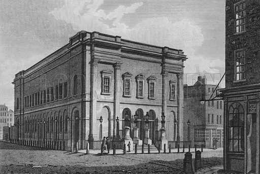 New Drury Lane Theatre. Illustration for The Beauties of England and Wales by Joseph Nightingale (J Harris et al, 1815).