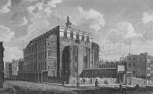 Drury Lane Theatre, Westminster, burnt down in 1809. Illustration for The Beauties of England and Wales by Joseph Nightingale (J Harris et al, 1815).