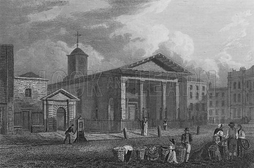 St Paul's Church, Covent Garden. Illustration for The Beauties of England and Wales by Joseph Nightingale (J Harris et al, 1815).