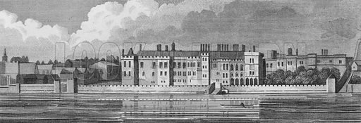 Old Somerset House. Illustration for The Beauties of England and Wales by Joseph Nightingale (J Harris et al, 1815).