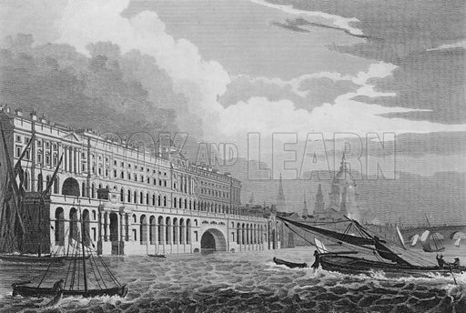 Somerset House, from the Thames, Westminster. Illustration for The Beauties of England and Wales by Joseph Nightingale (J Harris et al, 1815).