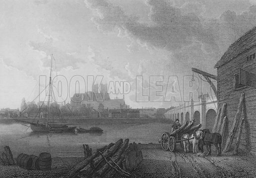 Westminster, shewing the Abbey, Hall, Bridge, etc, from the opposite side of the Thames. Illustration for The Beauties of England and Wales by Joseph Nightingale (J Harris et al, 1815).