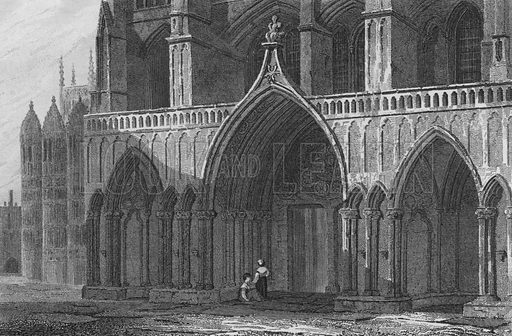 Westminster Abbey, North Porch, with part of Henry the 7th Chapel. Illustration for The Beauties of England and Wales by Joseph Nightingale (J Harris et al, 1815).