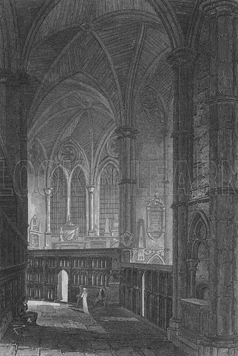 Entrance to the South Aisle, Westminster Abbey. Illustration for The Beauties of England and Wales by Joseph Nightingale (J Harris et al, 1815).
