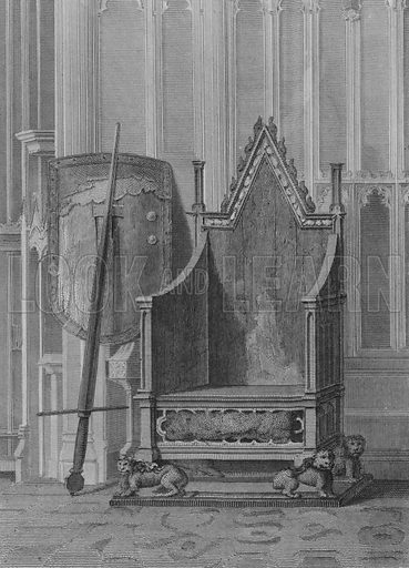 The Coronation Chair of the English Sovereigns, with the Shield and Sword of State of Edward the Third, Westminster Abbey. Illustration for The Beauties of England and Wales by Joseph Nightingale (J Harris et al, 1815).