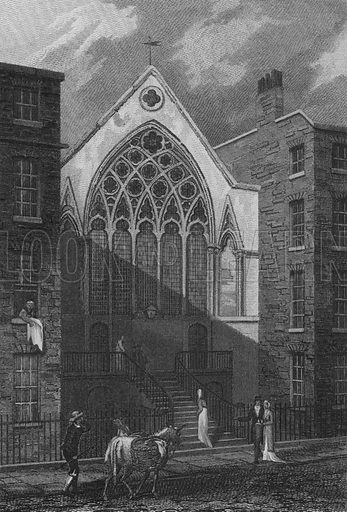 Chapel, Ely Place. Illustration for The Beauties of England and Wales by Joseph Nightingale (J Harris et al, 1815).