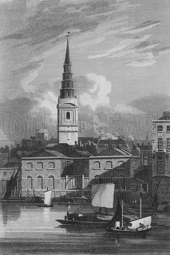 View of St Bride's Church, taken from the River Thames. Illustration for The Beauties of England and Wales by Joseph Nightingale (J Harris et al, 1815).