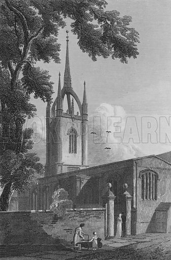 St Dunstan's in the East. Illustration for The Beauties of England and Wales by Joseph Nightingale (J Harris et al, 1815).
