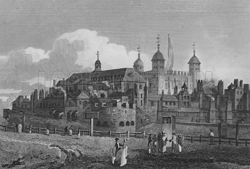 The Tower of London, from the Hill. Illustration for The Beauties of England and Wales by Joseph Nightingale (J Harris et al, 1815).