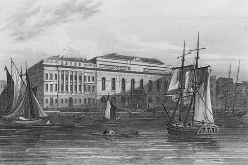 New Custom House, London. Illustration for The Beauties of England and Wales by Joseph Nightingale (J Harris et al, 1815).