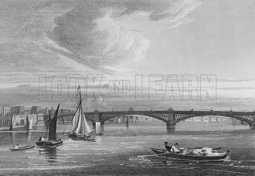 New Iron Bridge, over the Thames from Queen Street. Illustration for The Beauties of England and Wales by Joseph Nightingale (J Harris et al, 1815).
