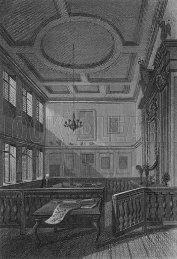 Interior of the Herald's College. Illustration for The Beauties of England and Wales by Joseph Nightingale (J Harris et al, 1815).