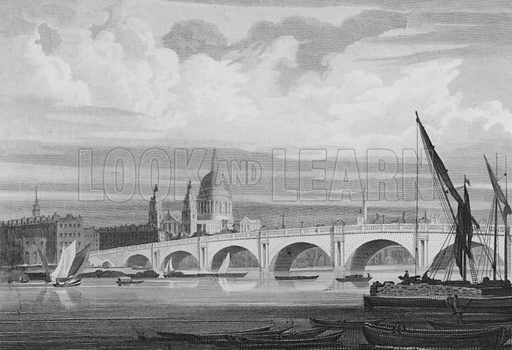 Blackfryar's Bridge, St Paul's Cathedral etc, from the Surrey Side of the River Thames, London. Illustration for The Beauties of England and Wales by Joseph Nightingale (J Harris et al, 1815).
