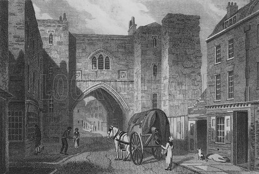 St John's Gate, Clerkenwell. Illustration for The Beauties of England and Wales by Joseph Nightingale (J Harris et al, 1815).