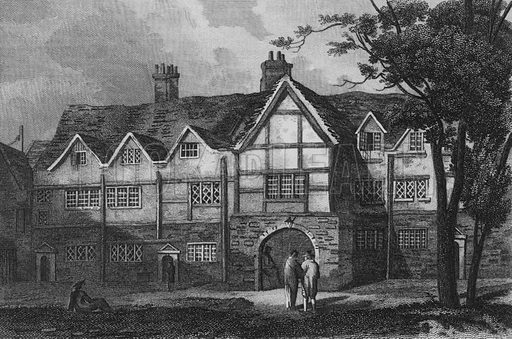 Old Porch, Charter House. Illustration for The Beauties of England and Wales by Joseph Nightingale (J Harris et al, 1815).