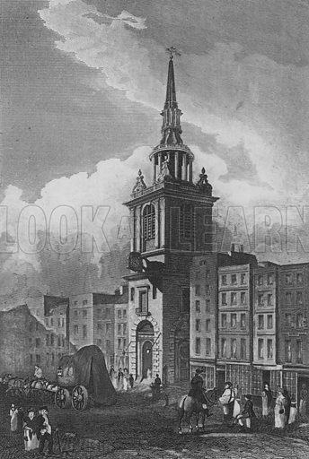 Bow Church, Cheapside, London. Illustration for The Beauties of England and Wales by Joseph Nightingale (J Harris et al, 1815).