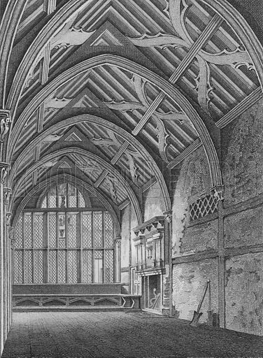 Hall of the Brotherhood of the Holy Trinity, in St Botolph's Parish, Aldersgate, as remaining in February 1790, London. Illustration for The Beauties of England and Wales by Joseph Nightingale (J Harris et al, 1815).