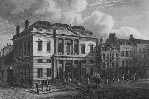 The Auction Mart, London. Illustration for The Beauties of England and Wales by Joseph Nightingale (J Harris et al, 1815).