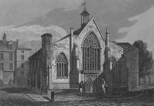 The Dutch Church, Austin Friars, London. Illustration for The Beauties of England and Wales by Joseph Nightingale (J Harris et al, 1815).