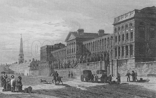St Luke's Hospital, Old Street Road. Illustration for The Beauties of England and Wales by Joseph Nightingale (J Harris et al, 1815).