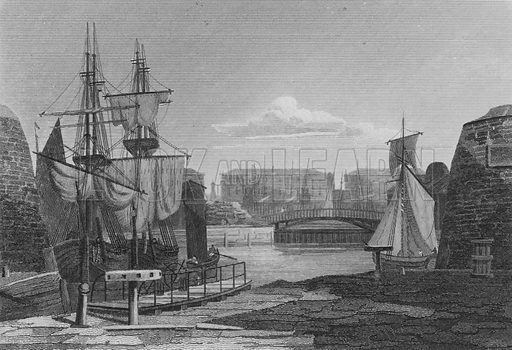 The Entrance to the London Docks. Illustration for The Beauties of England and Wales by Joseph Nightingale (J Harris et al, 1815).