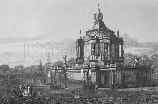 Temple of Concord, in the Green Park, Middlesex, as it appeared 1 August 1814. Illustration for The Beauties of England and Wales by Joseph Nightingale (J Harris et al, 1815).