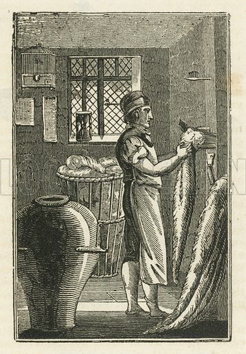 Wool-comber. Illustration for The Book of English Trades and Library of the Useful Arts (new edn, J Souter, 1818).