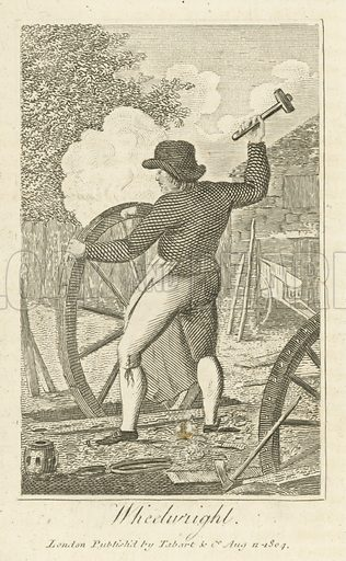 Wheelwright. Illustration for The Book of English Trades and Library of the Useful Arts (new edn, J Souter, 1818).