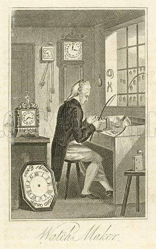Watch Maker. Illustration for The Book of English Trades and Library of the Useful Arts (new edn, J Souter, 1818).
