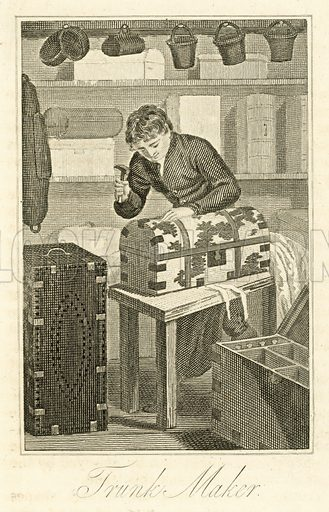 Trunk Maker. Illustration for The Book of English Trades and Library of the Useful Arts (new edn, J Souter, 1818).