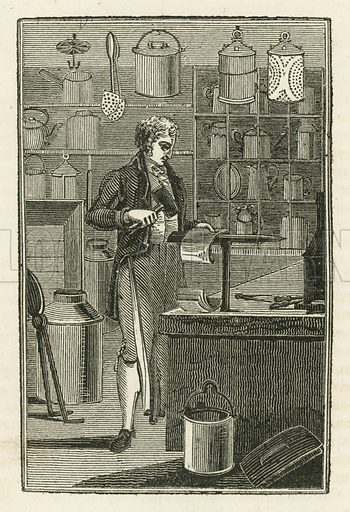 The Tin-Plate Worker. Illustration for The Book of English Trades and Library of the Useful Arts (new edn, J Souter, 1818).
