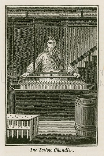 The Tallow Chandler. Illustration for The Book of English Trades and Library of the Useful Arts (new edn, J Souter, 1818).