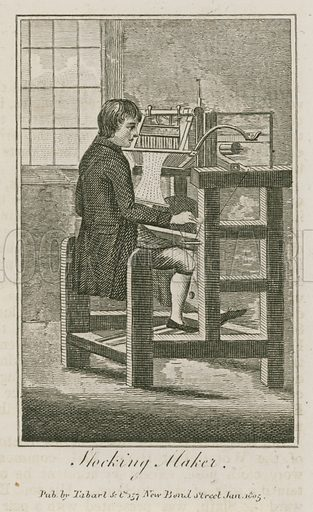 Stocking Maker. Illustration for The Book of English Trades and Library of the Useful Arts (new edn, J Souter, 1818).