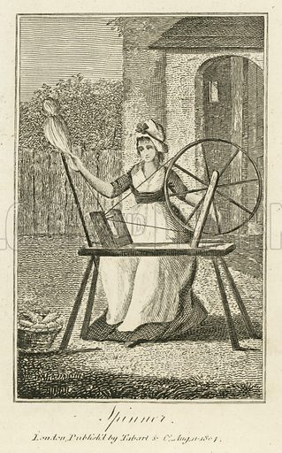 Spinner. Illustration for The Book of English Trades and Library of the Useful Arts (new edn, J Souter, 1818).