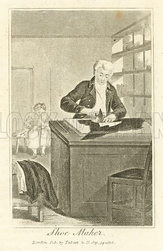 Shoe Maker. Illustration for The Book of English Trades and Library of the Useful Arts (new edn, J Souter, 1818).