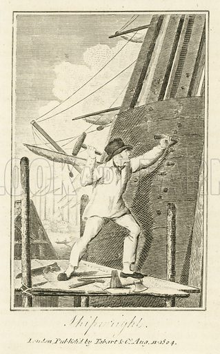 Shipwright. Illustration for The Book of English Trades and Library of the Useful Arts (new edn, J Souter, 1818).