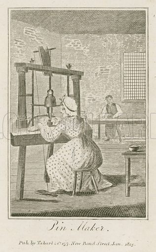 Pin Maker. Illustration for The Book of English Trades and Library of the Useful Arts (new edn, J Souter, 1818).