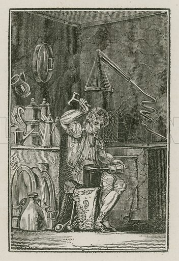 The Pewterer. Illustration for The Book of English Trades and Library of the Useful Arts (new edn, J Souter, 1818).