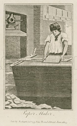 Paper Maker. Illustration for The Book of English Trades and Library of the Useful Arts (new edn, J Souter, 1818).